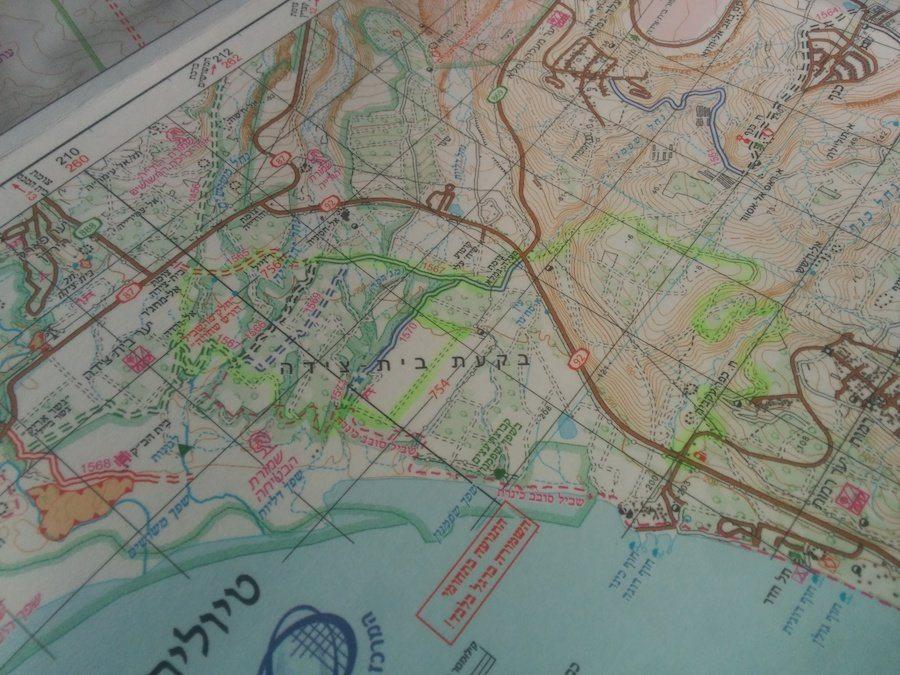 מפה של מסלול טיול ג׳יפים בשטח הבטחה בצפון הכנרת פלגי בזלת